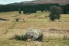Looking to the Loupin Stanes from one of the stones leading between the two circles.