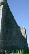 View of the east curtain wall from the south.