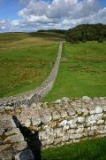 The northeast corner of the fort, looking along Hadrian's Wall.