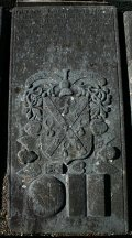 Grave slab in the graveyard.