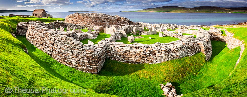 Panoramic view showing the ditch around the broch and village.