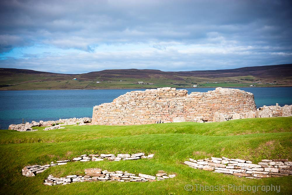 Looking northeast with the island of Rousay behind the broch.