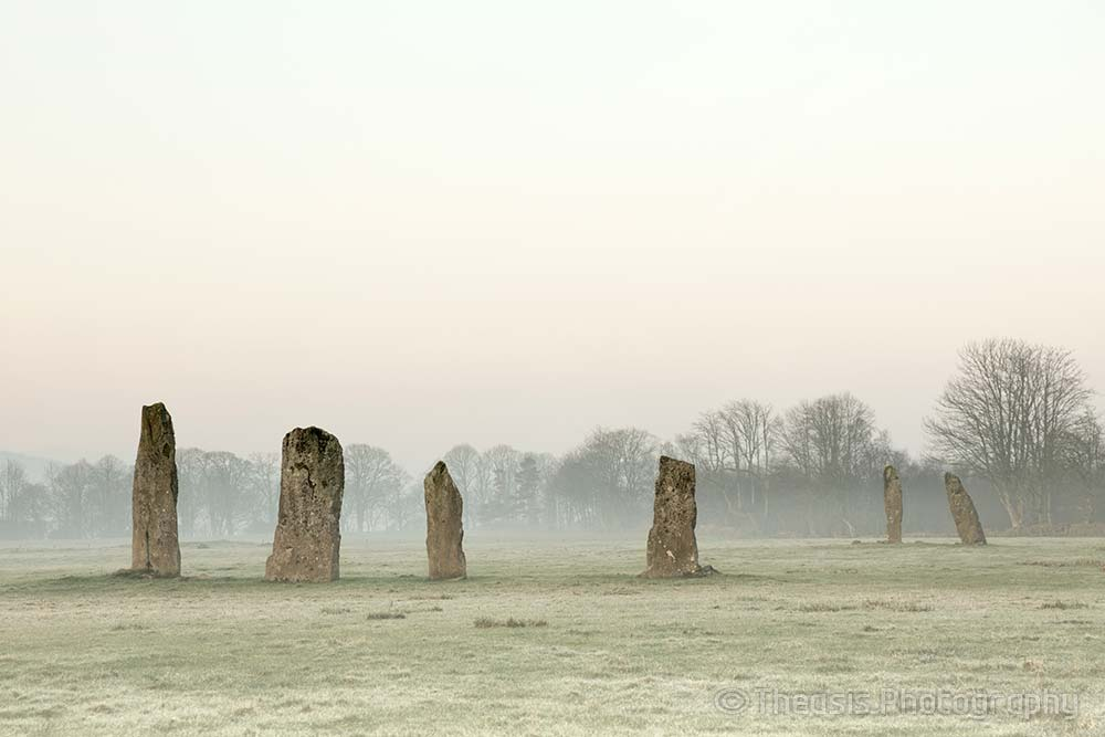 Both stone rows, pre-dawn, on a misty morning.