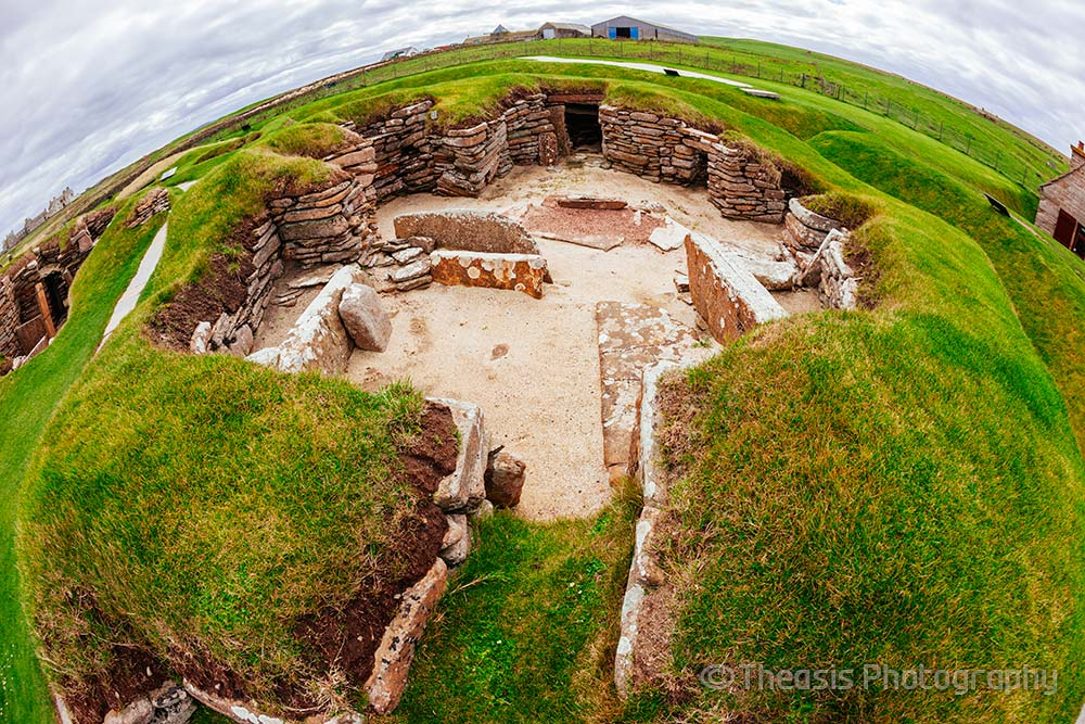 This house has a unique structure amongst the houses of Skara Brae - the walls are thicker as it was free standing, and there is no hearth, no dresser, no beds, no boxes.  It is believed that this was a workshop where stone tools were made.