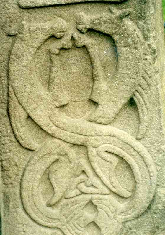 Detail of the interlaced creatures at the bottom-right of the cross side. Could these sea-horses be a more sophisticated version of the Pictish beast?