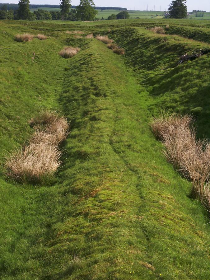 The ditch and bank defences are about 2 metres deep with a series of several ditches and banks on the northern side.
