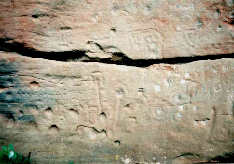 Another view of the left-hand face showing rows of cups and unusual rectangular marks.