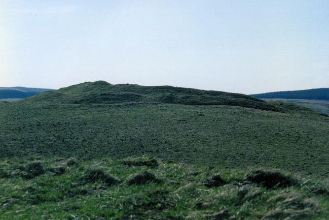 "The hillfort seen from the direction of the <A href=""burghhilllcircle.html"">Burgh Hill stone circle</A>."