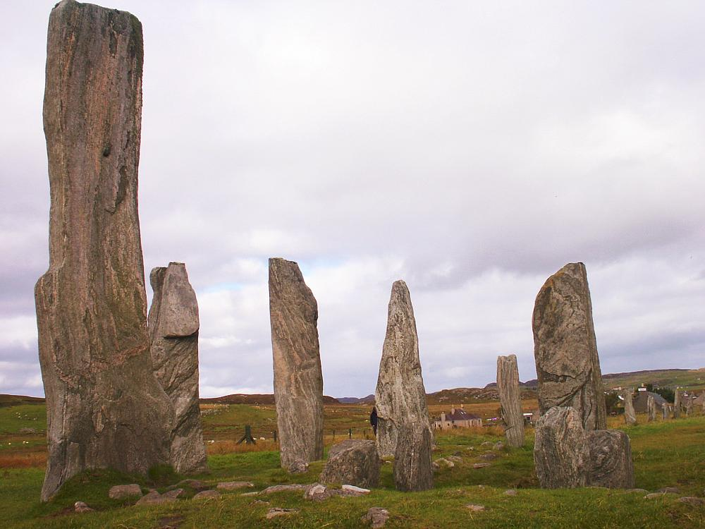 The central chambered cairn and stone circle from the south.