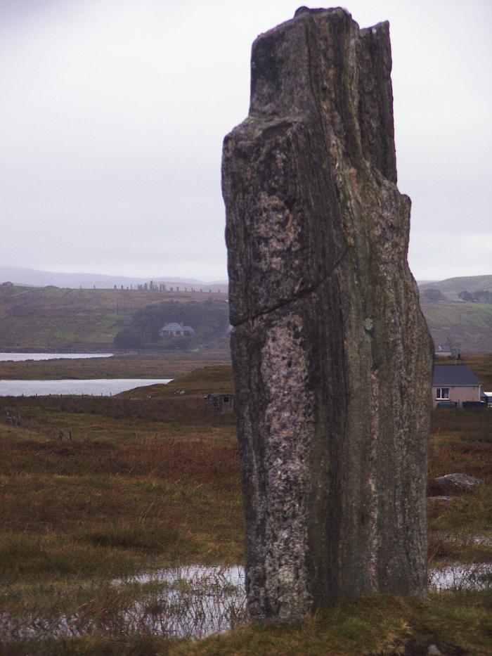 Looking west.  The many stones of the main Callanish site can beseen on the horizon.