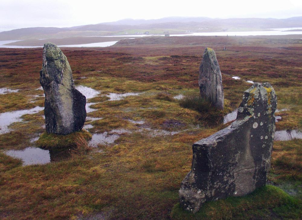 Looking southwest.  Again, the stones of Callanish II can justbe seen on the shore to the right.