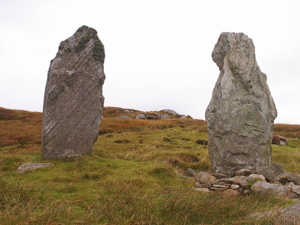 The two tall stones at the northeast.