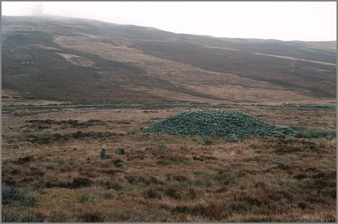 Looking north.  In the foreground is the stone circle.  Immediately behind is the large cairn.