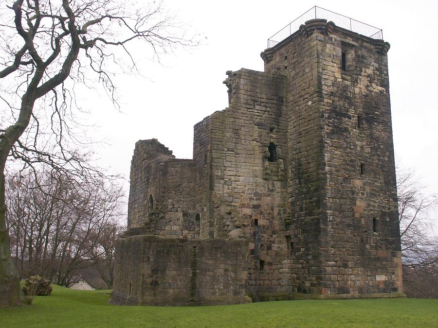 A view from the southeast.  Many courses of the southeast tower (nearest to us) and the full height of the northeast tower still stand.