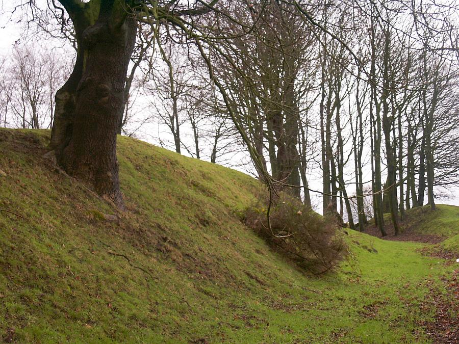 The original 12th century defensive ring ditch on the south side of the castle.