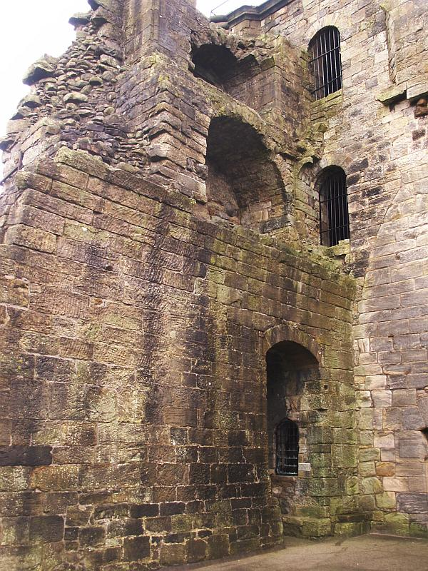 The north wall and northeast tower from inside the great hall.