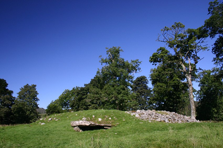 The cairn from the southwest.  A second burial space is very obvious in the near side of the cairn.
