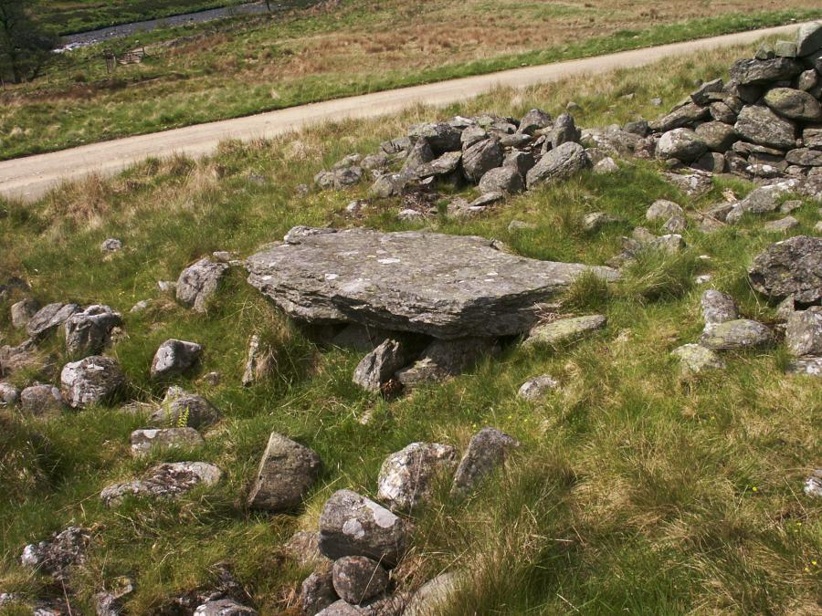 Another cist, still with its capstone, at the eastern end of the cairn.