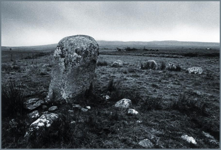 Looking east.  Many of the smaller stones covering the ground within the circle can be seen