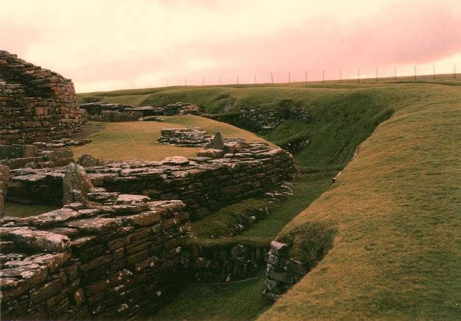 Looking south over the ditch and bank that surrounds the broch