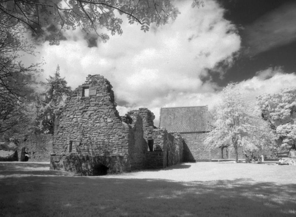 Looking north towards the latrine block and warming house.  The roofed building is the chapter house.