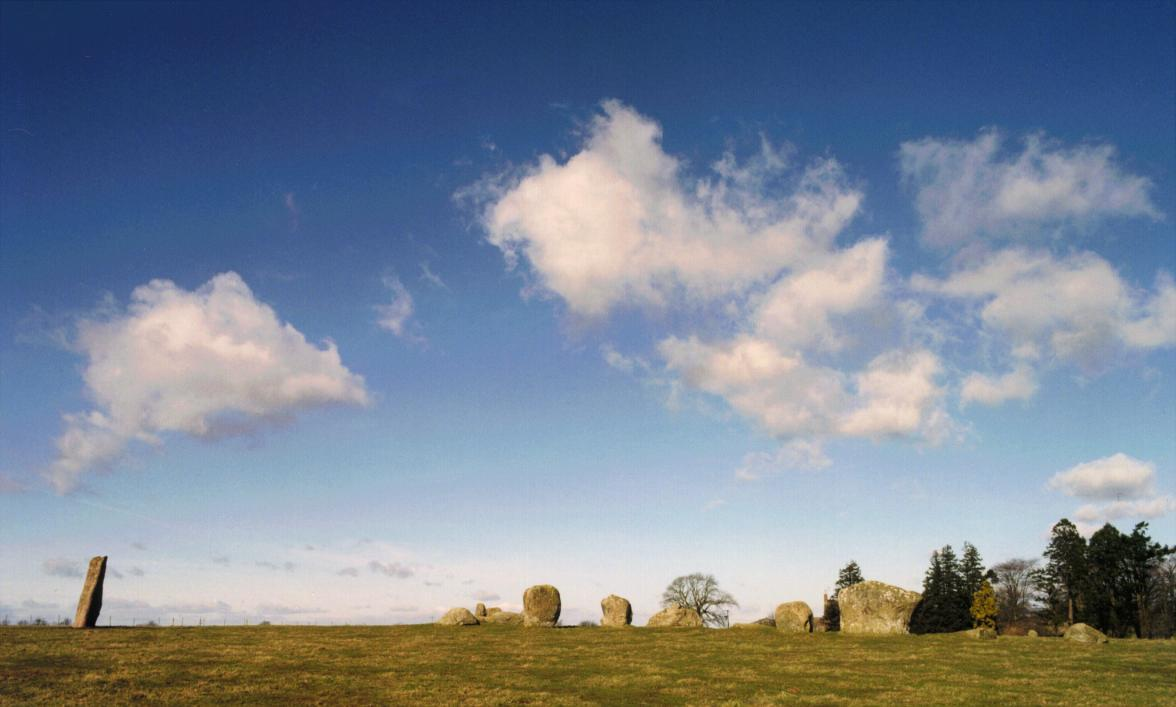 The tall outlying piller of Long Meg is twelve feet tall and stands some 80 feet outside the circle