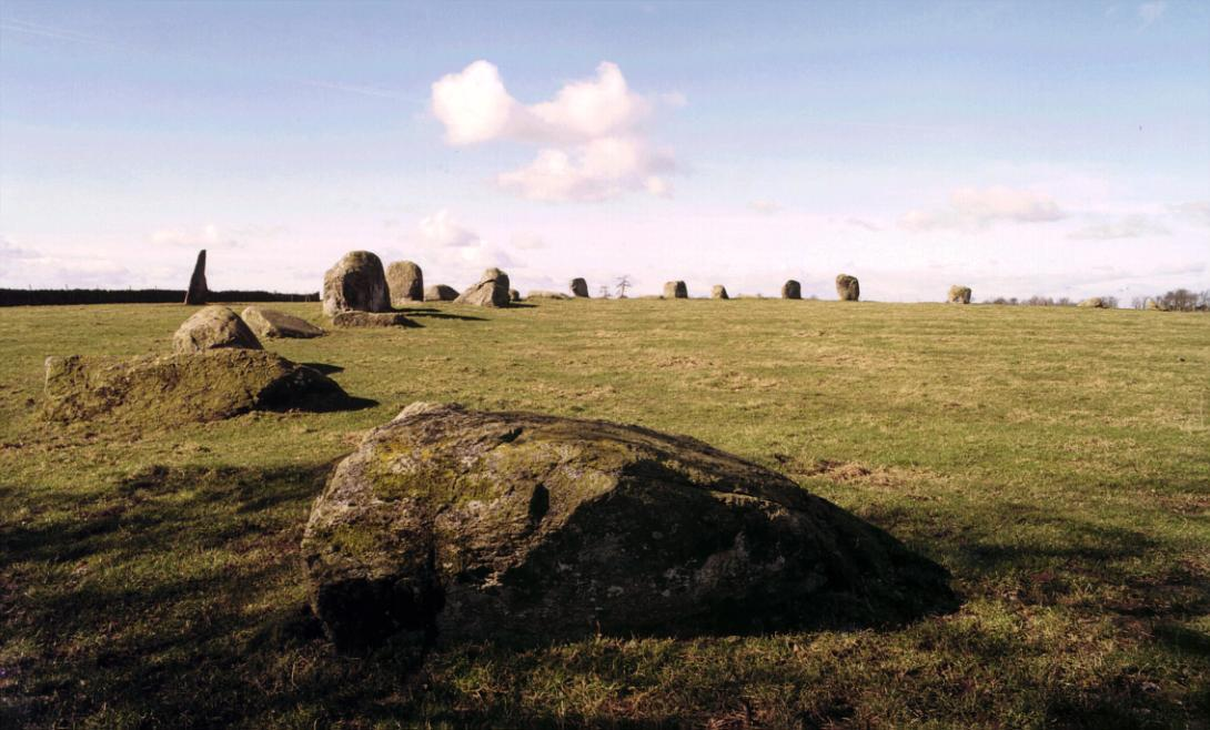 The southern arc and Long Meg, looking west