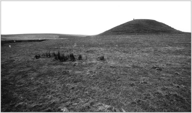 Looking west towards Maeshowe from the surrounding ditch