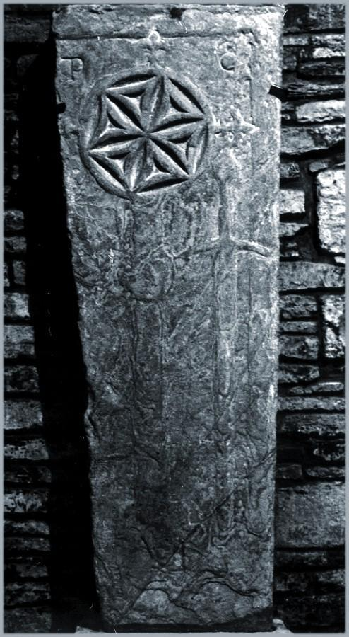 An early stone slab showing a crusader