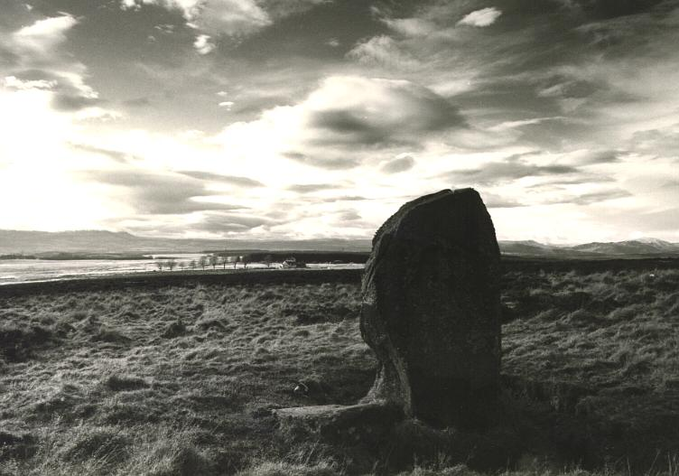The Wallace stone, looking west to the Trossachs