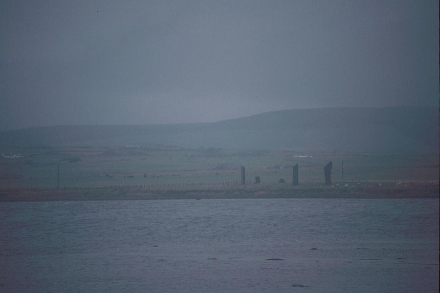 Looking northeast across the loch to the stones of Stenness.