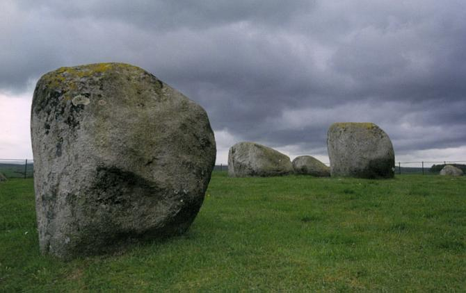 Looking northwest towards the three central stones.