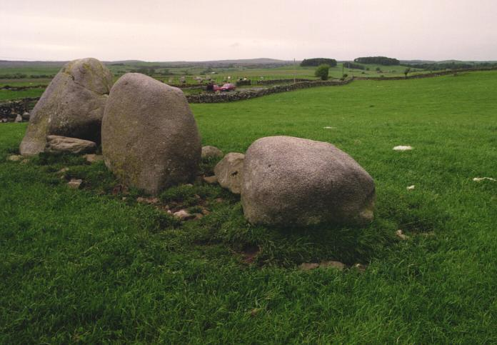 The nearby row of stones.  The circle can be seen behind the stones and across the road.
