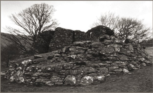 View from outside the broch looking towards the more damaged wall