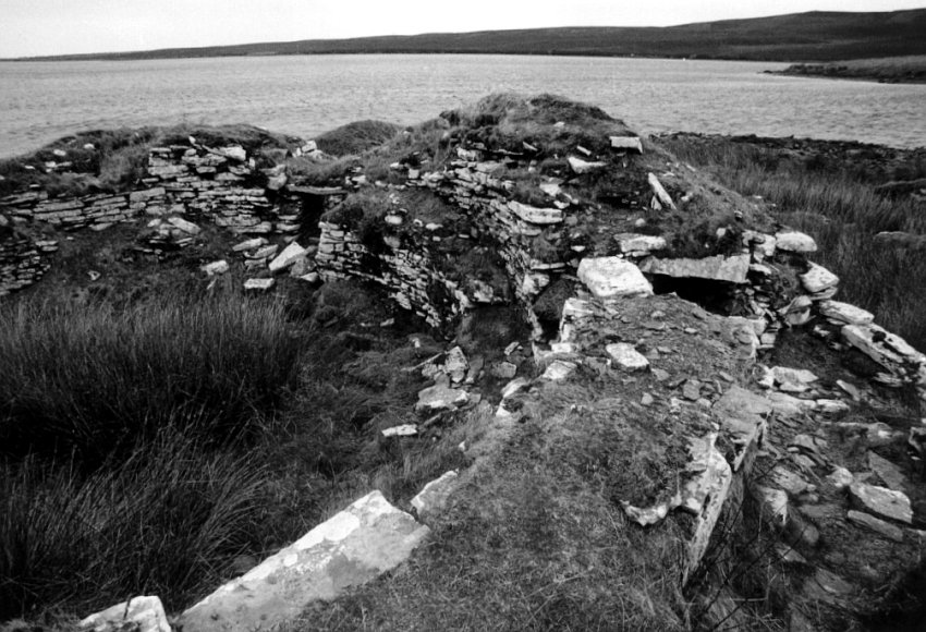 Another view from the broch wall.  One entrance is in the far wall, the other much nearer in the wall to the right.